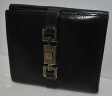 Vintage Gucci Jackie Womens Black Leather Clasp Bi-Fold Wallet With Coin Purse