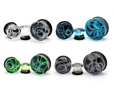 Pair of Glass Swirl Double Flare Plugs set gauges Pick Your Size And Color