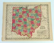 1855 Coltons Ohio State Atlas Map Railroad Lines Johnson Browning No 39 Original