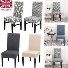 6pcs Dining Chair Seat Covers Wedding Party Home Protective Stretch Covers Grey