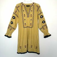 ANTHROPOLOGIE RIYA Size SMALL Merida Embroidered Dress Mustard Yellow Boho