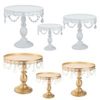 """Cake Stand w/ Crystals 8"""" 10"""" 12"""" Wedding Party Cupcake Display Plates Holder"""