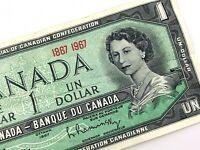 1967 Canada Centennial 1 One Dollar Circulated Canadian Elizabeth Banknote M239