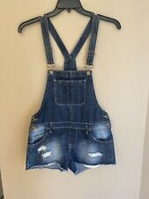 Mudd Size M JRS Distressed Destroyed Frayed Mini Jean Shortalls Overall Shorts