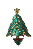 Vintage Gold Tone, Red And Green Enamel Christmas Tree Pin Brooch