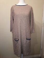 Next Jumper Dress Knit Dress Striped Brown Beije blue size 10