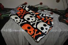 N RITZ S/2 Cotton SKULL CROSS BONES Kitchen Towels Halloween Orange/Black/Beige