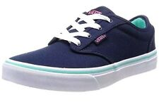 NEW Vans Girls Blue Canvas Dress Blues Atwood Low Trainers Shoes UK 10 EUR 27