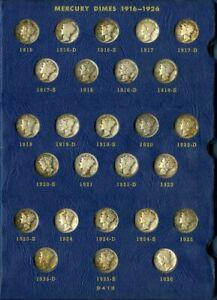 US Coins Mercury Silver Dime Set 1916-45 Complete NO RESERVE!
