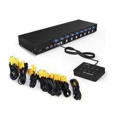 RIJER 8 Port Manual Smart VGA USB KVM Switch PC Computer Selector 1 KM Combo Con