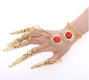Chain Bracelet Bangle Designer Vintage Hand Jewellery Belly Dancers Dancing Gold