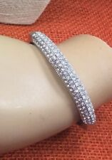 Bracelet Rhinestone Crystal Sparkly Cast Silver Plated Locking Heavy Bangle