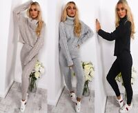Womens Ladies Cable Knitted High Roll Neck Top Bottom Lounge Wear Tracksuit Set