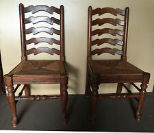 6 ETHAN ALLEN LADDERBACK ROYAL CHARTER CHAIRS CHAIR  REED FIBER SEAT
