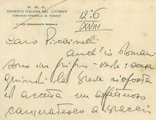 Gioventù Italiana del Littorio Lettera Vice Comandante Federale di Firenze 1940