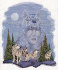 Embroidered Short-Slee 00004000 ved T-Shirt - Wolf Spirit M8377 Size S - Xxl