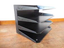 Vintage Black Metal Desktop Letter Traypaper Organizer 4 Shelf 12 X 85 X 9