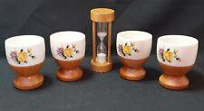 Vintage Wooden/Ceramic Egg Set With Egg Timer - Boxed Egg Cups 60's 70's Unused