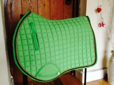 Quality Quilted Apple Green With Black Edging Saddle Pad - Size Cob