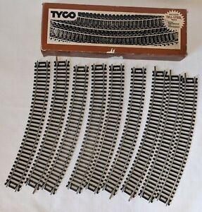 "Vintage Tyco HO Tru-Steel 18"" Radius Curve 9 Pieces Train Track With Box"