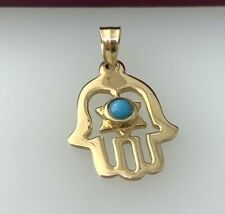 Hamsa Pendant / Charm with Turquoise in 14k Yellow Gold