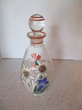 """Decorative Glass Bottle With Stopper, Hand Painted, Raised Floral Design, 8 1/2"""""""