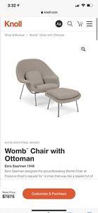 Knoll Womb Chair and Ottoman Eero Saarinen Chrome base, Cato Sand Upholstery