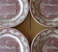 4 PINK  Vintage ENGLISH IRONSTONE CHATSWORTH HOUSE DERBYSHIRE ENGLAND PLATES