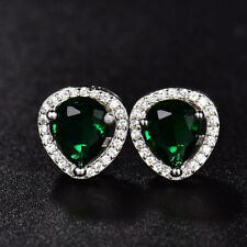 Pear Drop Green Gemstone Emerald Silver White Gold Filled Women Stud Earrings