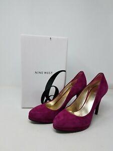Nine West Fuchsia Pink Suede Platform Pumps Women's size 7 M Heel Stiletto Round