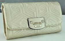 FREE Ship USA Chic  SLG Wallet GUESS Limited G Cube Quilt Gold Ladies Lovely
