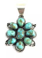Native American Sterling Silver Navajo Handmade Kingman Turquoise Pendant
