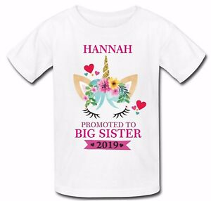 Personalised Unicorn Promoted to Big Sister t shirt top  pregnancy announcement
