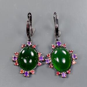 Handmade Prehnite Earrings Silver 925 Sterling   /E57742