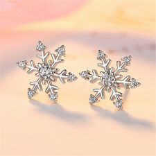 Fashion Women Crystal 925 Silver Snowflake Ear Stud Earrings Xmas Party Jewelry