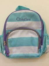 Pottery Barn Kids Fairfax Preschool Mini Blue White Backpack w/ name Charlee New