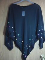 Women's Black Sheer Embellished Fringe Poncho one size/fits over the head