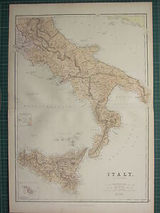 1882 LARGE ANTIQUE MAP ~ ITALY SOUTH SHEET ~ MALTESE SICILY ROMA NAPOLI