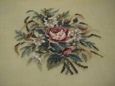 Corticelli Pink Rose & Daisies Bouquet Pre-Worked Design Needlepoint Canvas 10.5