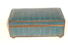 RARE CHINESE CLOISONNE BLUE ENAMEL FLORAL LARGE TRUNK BOX
