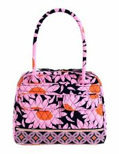 Women New Vera Bradley Bowler Hand Bag Purse Tote Loves Me Pink Blue Flowers
