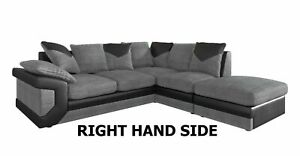DINO CORNER SOFA Black&Grey or Brown&Beige SOFA LEFT RIGHT 3+2 SWIVEL ARMCHAIR