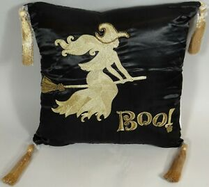 Halloween Witch Throw Pillow Black Satin Gold Tassels Beads Embroidered BOO New