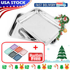 Stainless Steel Food Tray Plate Dinner Dish Serving Container Tableware Camping