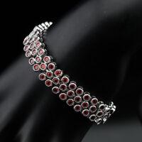 Red Garnet Link Chain Bracelet 925 Sterling Silver Premium 7 Inch