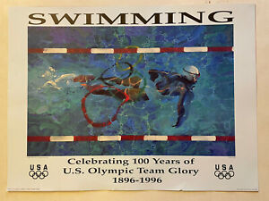 "1896 - 1996 Atlanta Swimming Olympic  Poster Size: 18"" x 24"""