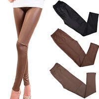 LC_ femme serré simili cuir Pantalon Rock Punk Pantalon slim basique legging