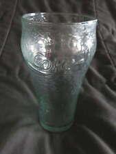 "Vintage COCA COLA Textured Green Tint COKE Tall Drinking GLASS Soda Retro 6"""