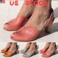 Women Block Chunky Heel Sandals Vintage Ladies Casual Ankle Strap Peeptoe Shoes