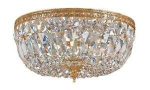 Crystorama 3 Light Clear Italian Crystal Brass Flush Mount